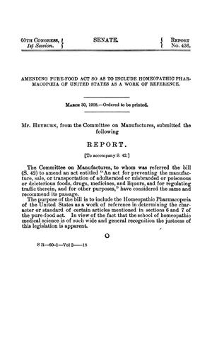 Primary view of Amending Pure-Food Act so as to Include Homeopathic Pharmacopoia of United States as a Work of Reference, Report