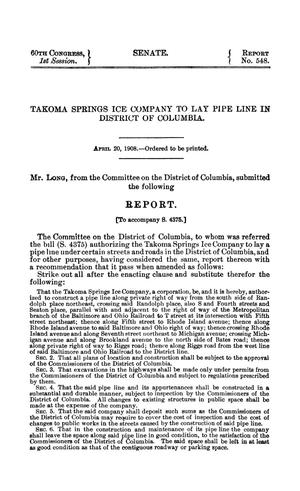 Primary view of Takoma Springs Ice Company to Lay Pipe Line in District of Columbia, Springs, Report