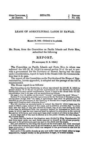 Primary view of Lease of Agricultural Lands in Hawaii, Report