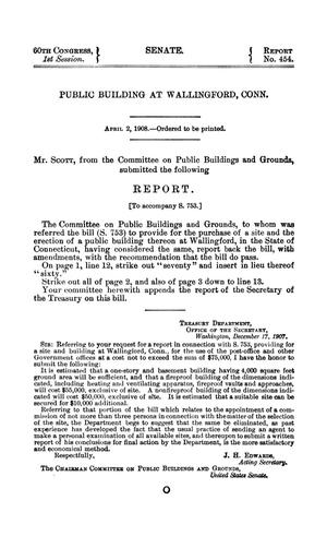 Primary view of Public Building at Wallingford, Conn., Report