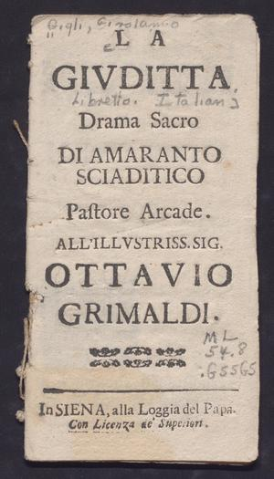Primary view of object titled 'Givditta: drama sacra'.
