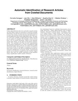 Automatic Identification of Research Articles from Crawled Documents