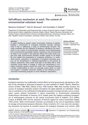 Self-efficacy mechanism at work: The context of environmental volunteer travel