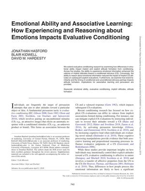 Emotional Ability and Associative Learning: How Experiencing and Reasoning about Emotions Impacts Evaluative Conditioning