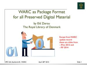 Primary view of WARC as Package Format For All Preserved Digital Material