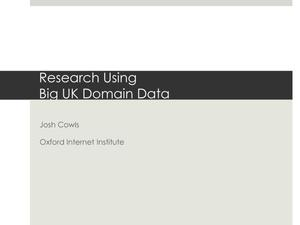 Primary view of Research Using Big UK Domain Data