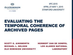 Primary view of Evaluating the Temporal Coherence of Archived Pages