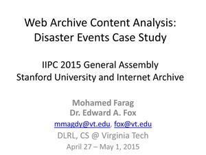 Primary view of Web Archive Content Analysis: Disaster Events Case Study