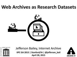 Primary view of Web Archives as Research Datasets