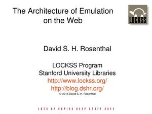 Primary view of The Architecture of Emulation on the Web