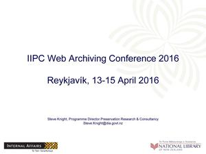 Primary view of object titled 'Rethinking Web Archiving - Developing Services for National Libraries'.