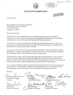 Primary view of object titled 'Letter from the State of Washington to the Commissioners (28Apr05)'.
