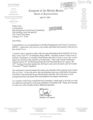Primary view of object titled 'Letter from McMorris to Commissioner Coyle (27Apr05)'.