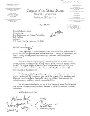 Primary view of object titled 'Letter from Ortiz to Commissioner Hansen (22Apr05)'.