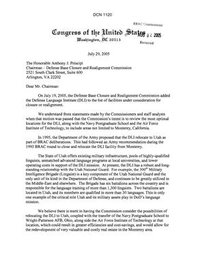 Primary view of object titled 'Executive Correspondence - Senators Hatch and Bennett Congressman Bennett regarding the relocation of the Defense Language Institute (DLI)'.