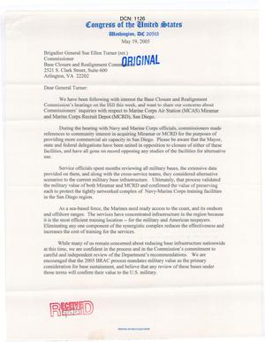Primary view of object titled '[Letter from the California Congressional Delegation to Sue Ellen Turner - May 19, 2005]'.