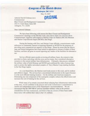 Primary view of object titled '[Letter from the California Congressional Delegation to Harold  Gehman - May 19, 2005]'.