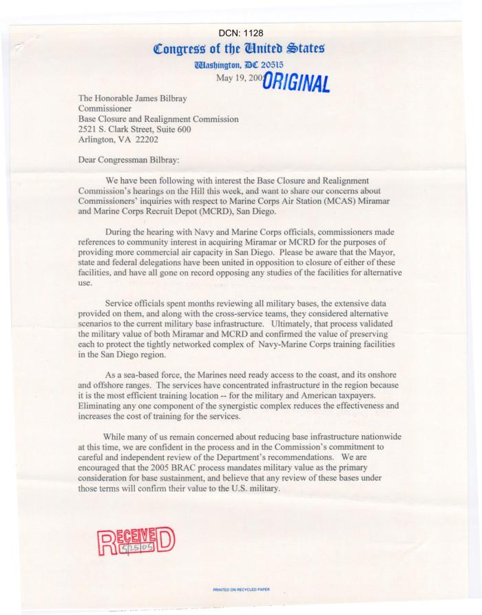 Letter From Representatives Of California To James Bilbray