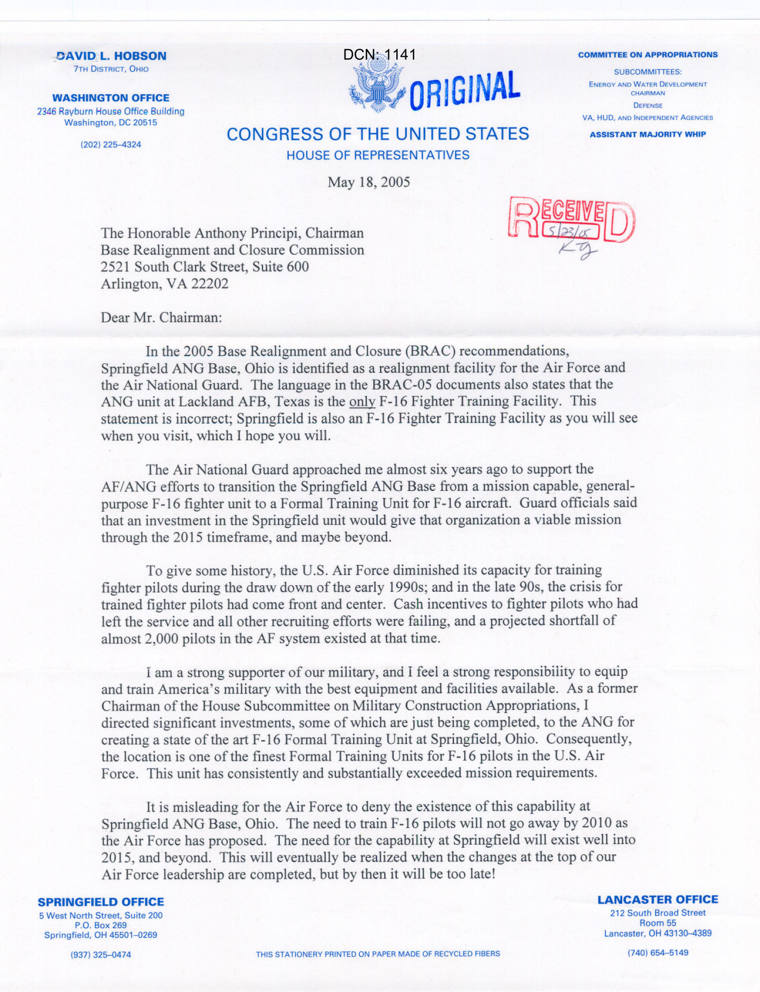 Letter from Rep. David Hobson to Chairman Principi (18May05)                                                                                                      [Sequence #]: 1 of 2