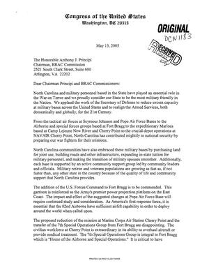 Primary view of object titled '[Letter from Politicians of North Carolina to BRAC Commissioners - May 13, 2005]'.