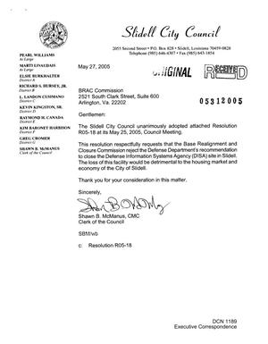 Primary view of object titled '[Letter from Slidell, Louisiana, City Council to the BRAC Commission - May 27, 2005]'.