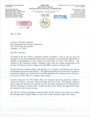 Primary view of object titled 'Letter from Rep Varela to Chairman Principi (05/17/2005)'.
