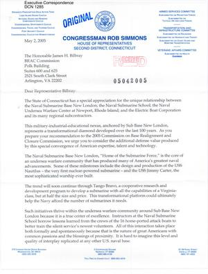Primary view of object titled 'Letter to all BRAC Commissioners from Rep Rob Simmons of CT'.