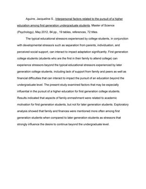 Interpersonal Factors Related to the Pursuit of a Higher