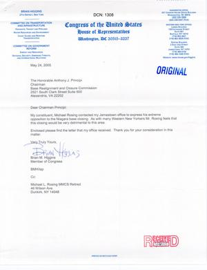 Primary view of object titled 'Letter from NY Rep. Brian Higgins to Chairman Principi (24May05)'.