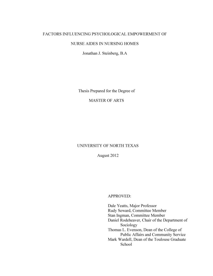 Masters thesis in nursing