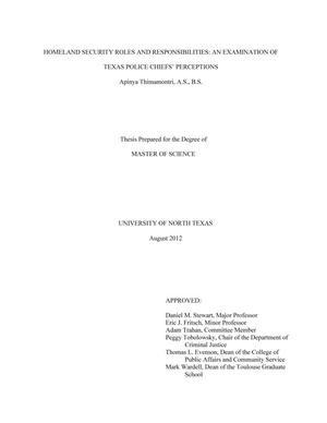 Primary view of object titled 'Homeland Security Roles and Responsibilities: an Examination of Texas Police Chiefs' Perceptions'.