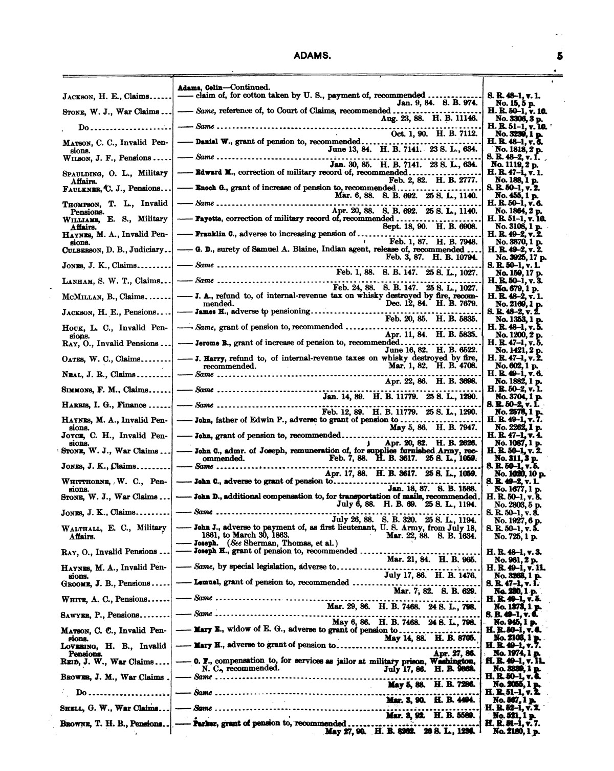 Comprehensive Index to the Publications of the United States Government, 1881-1893, Vol. 1.                                                                                                      5