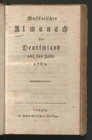 Primary view of Musikalischer Almanach für Deutschland auf das Jahr 1789