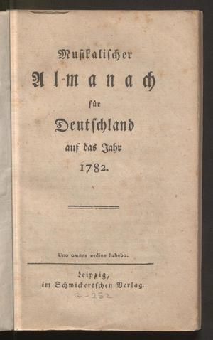 Primary view of Musikalischer Almanach für Deutschland auf das Jahr 1782