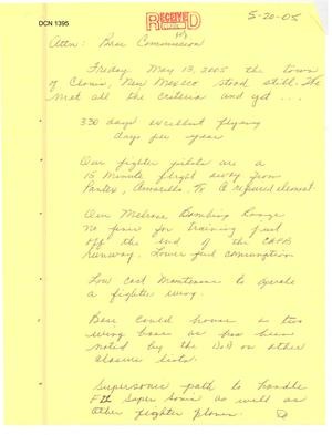 Primary view of object titled 'Letter from Betty Laubough to the BRAC commission'.