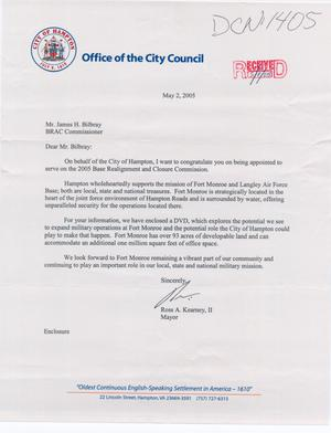 Primary view of object titled 'Letter from City of Hampton, VA to Commissioners (2May05)'.