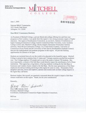 Primary view of object titled 'Letter to all Commissioners from Mary Ellen Jukoski President , Mitchell College'.