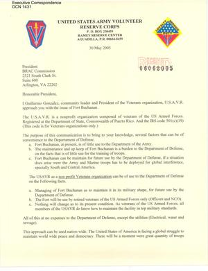 Primary view of object titled 'Letter to all Commissioners from Guillermo Gonzalez community leader and President of the U.S.A.V.R.'.