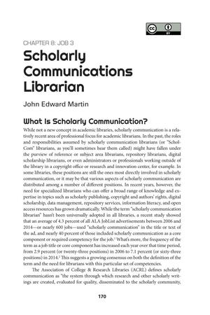 Primary view of object titled 'Scholarly Communications Librarian'.