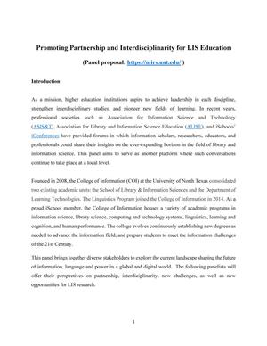 Primary view of object titled 'Promoting Partnership and Interdisciplinarity for LIS Education'.