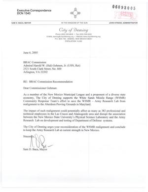 Primary view of object titled 'Letter to all Commissioners from Sam Baca Mayor or the City of Deming'.