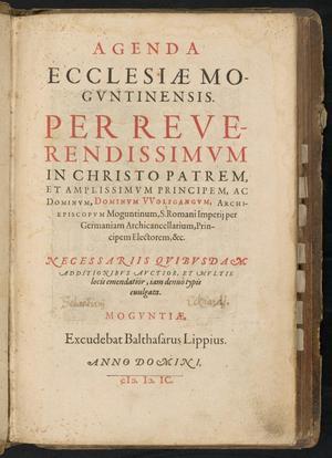 Primary view of Agenda Ecclesiae Moguntinensis