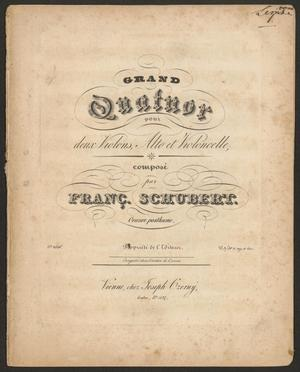Primary view of Grand quatuor pour deux violons, alto e violoncelle: œuvre posthume - violin 1