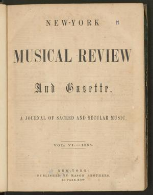 Primary view of New York Musical Review and Gazette, Volume 6, Index