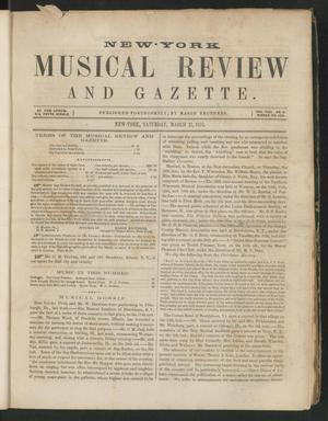 Primary view of New York Musical Review and Gazette, Volume 8, Number 6,  March 21, 1857