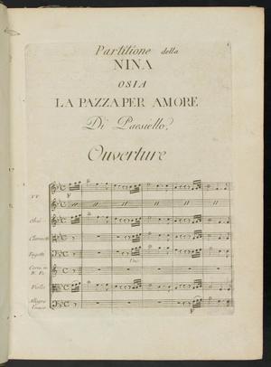 Primary view of Partitione della Nina, osia, La pazza per amore