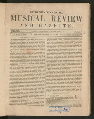 Primary view of New York Musical Review and Gazette, Volume 7, Number 1, January 12, 1856