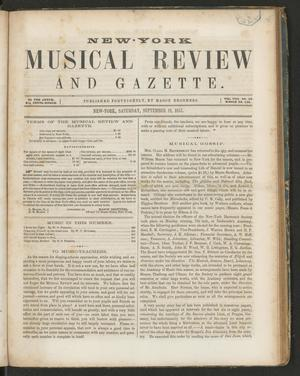 Primary view of New York Musical Review and Gazette, Volume 8, Number 19, September 19, 1857