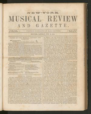 Primary view of New York Musical Review and Gazette, Volume 7, Number 12, June 14, 1856