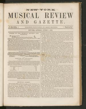 Primary view of New York Musical Review and Gazette, Volume 7, Number 20, October 4, 1856
